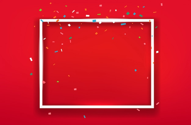 Blank square frame on red background