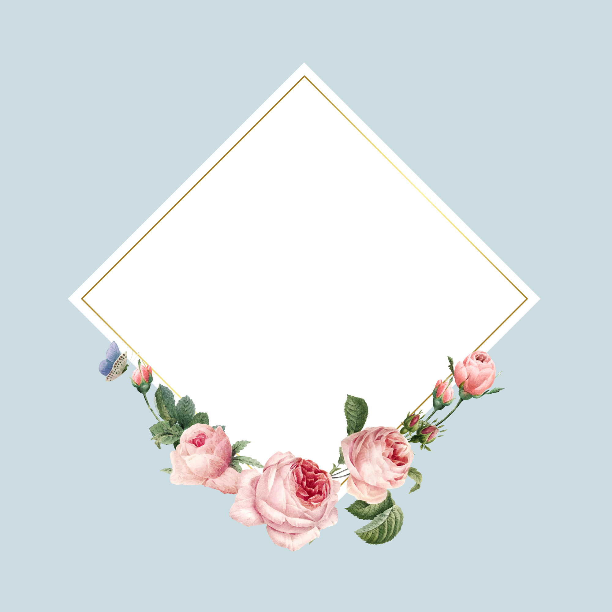 Blank square pink roses frame on blue background