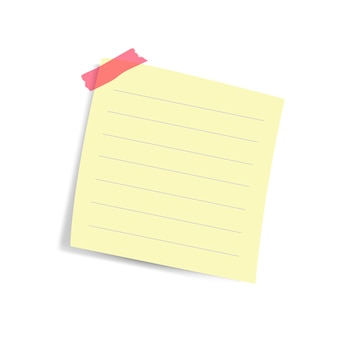 Blank square yellow reminder paper note vector