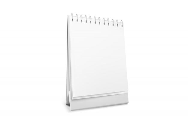 Blank standing desk calendar with a spiral.