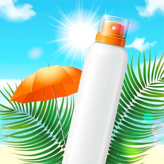 Blank sunscreen spray bottle on palm leaves and beach background in 3d illustration