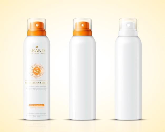 空白の日焼け止めスプレーボトルセット