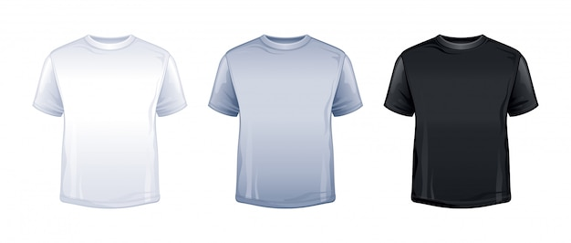 Blank t-shirt mock up in white, gray, black color.