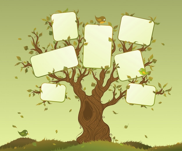 Blank tablets on a tree