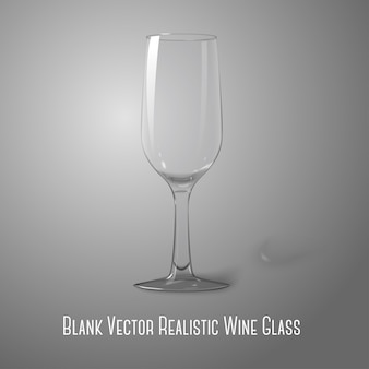 Blank tall transparent photo realistic isolated on grey wine glass