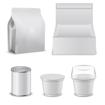 Blank template of food boxes and plastic containers.