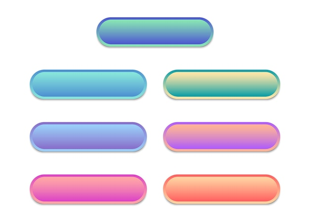 Webボタンの空白のテンプレート。ウェブサイト用のモダンなマルチカラーボタンのセット。