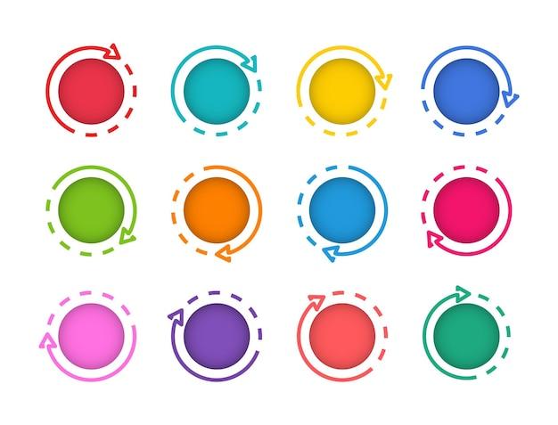 Пустой шаблон веб-круглых кнопок. набор современных кнопок для веб-сайта.