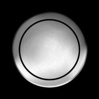 Blank template of round metal disk button with steel texture isolated on black background