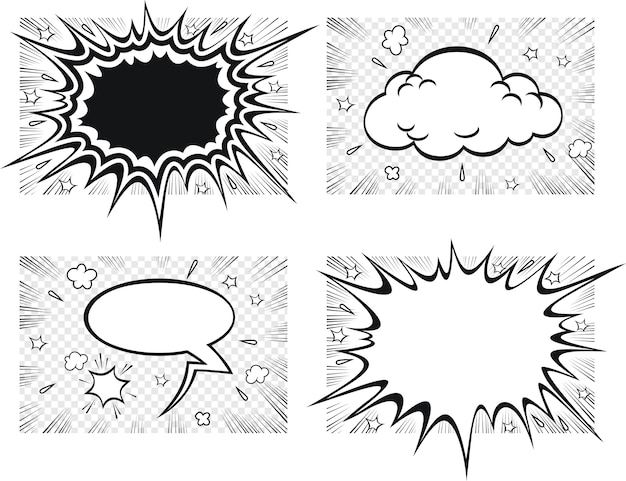 Blank text comic black speech bubbles in pop art style.