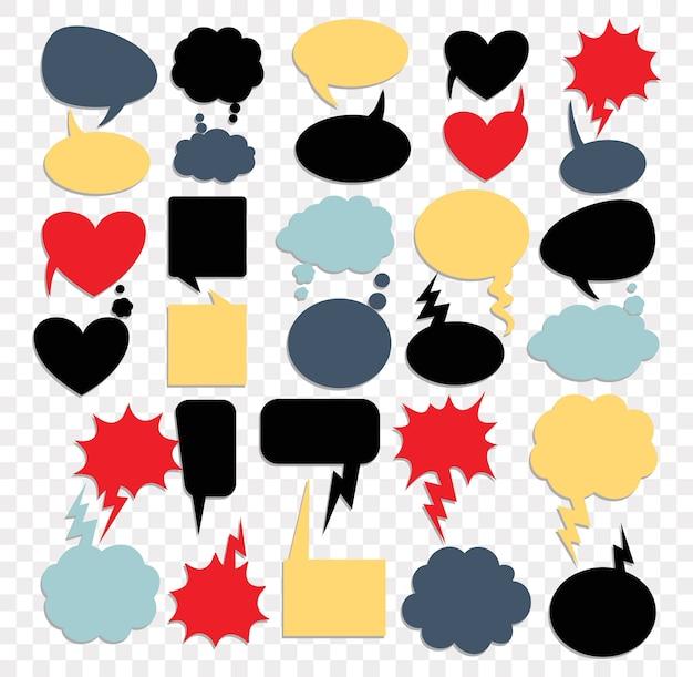 Blank text comic speech bubbles in pop art style