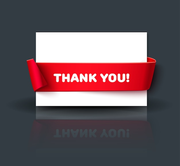 Blank thank you or greeting card template with reflection isolated on dark background. paper card with red ribbon and space for text.