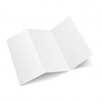 Blank three folded fold paper leaflet