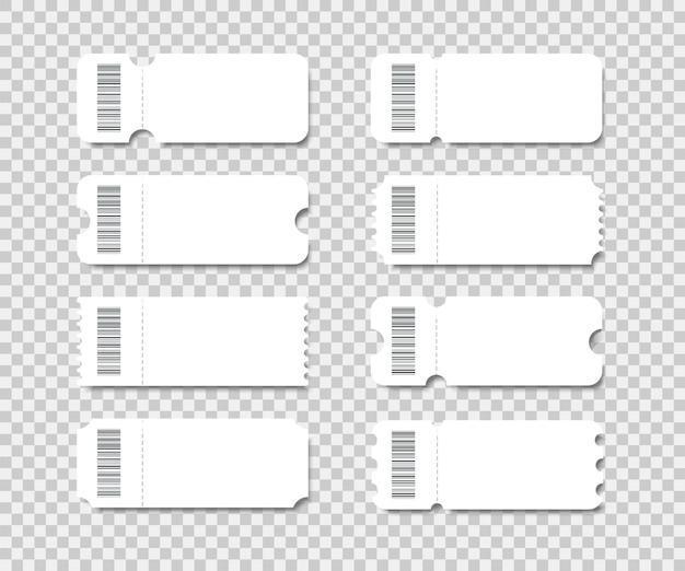 쿠폰, 복권, 티켓 영화, 콘서트, 탑승권에 대한 빈 티켓 세트.