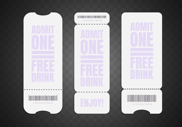 Blank ticket set. realistic white paper coupon isolated