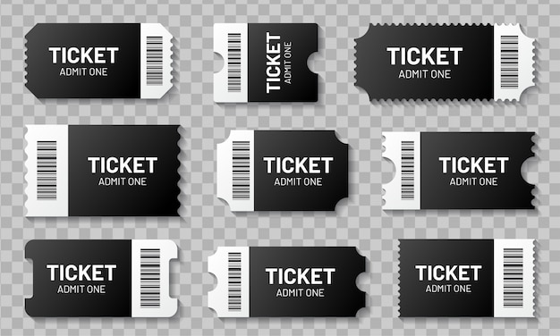 Blank ticket with barcode set. template for concert, movie, theater and boarding tickets, lottery and discount coupons with ruffled edges