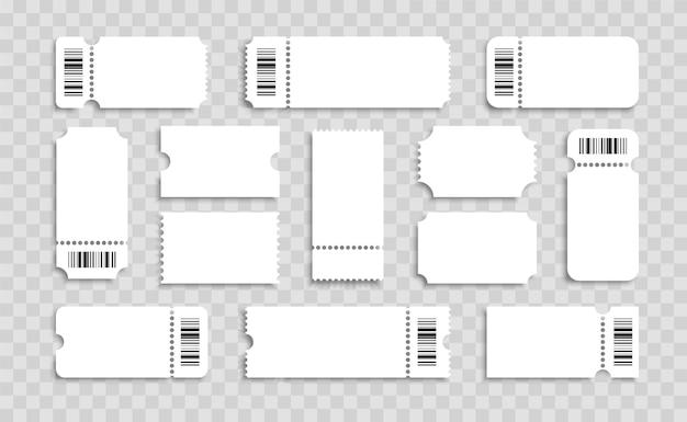 空のチケットセット。バーコード付きのリアルな白いチケット