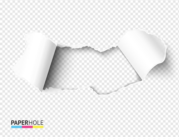 Blank torn paper hole with bent rip edges on empty bacground