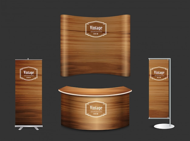 Blank trade show booth exhibition stand wood texture background