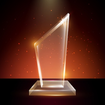 Blank transparent acrylic glass trophy award template in glowing background