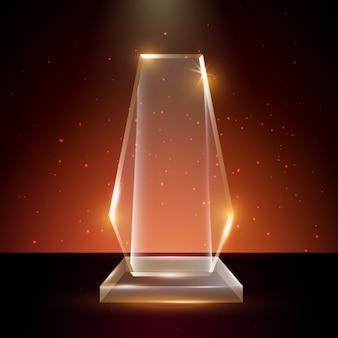 輝く背景の空白の透明なアクリルガラストロフィー賞テンプレート