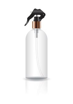 Пустая прозрачная косметическая круглая бутылка с головкой насоса.