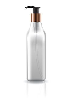 Пустая прозрачная косметическая квадратная бутылка с головкой насоса.