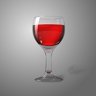Blank transparent photo realistic isolated on grey wine glass with red wine, for branding