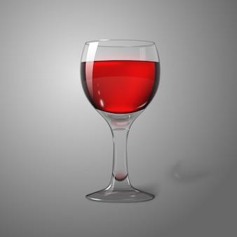 ブランディングのために、赤ワインと灰色のワイングラスに分離された現実的な空白の透明な写真