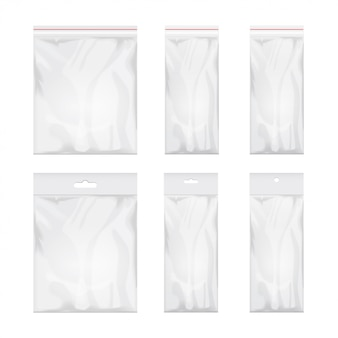 Blank transparent plastic bag template. set of white packaging with hang slot.   illustration