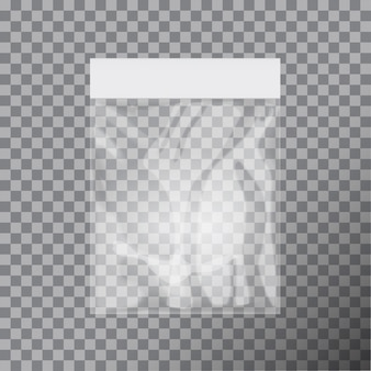 Blank transparent plastic bag template. white packaging with hang slot.   illustration