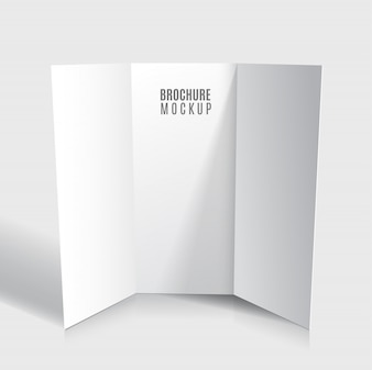 Blank tri-fold brochure design isolated.