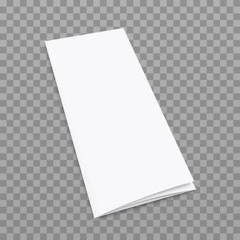 Blank tri fold flyer with cover on transparent