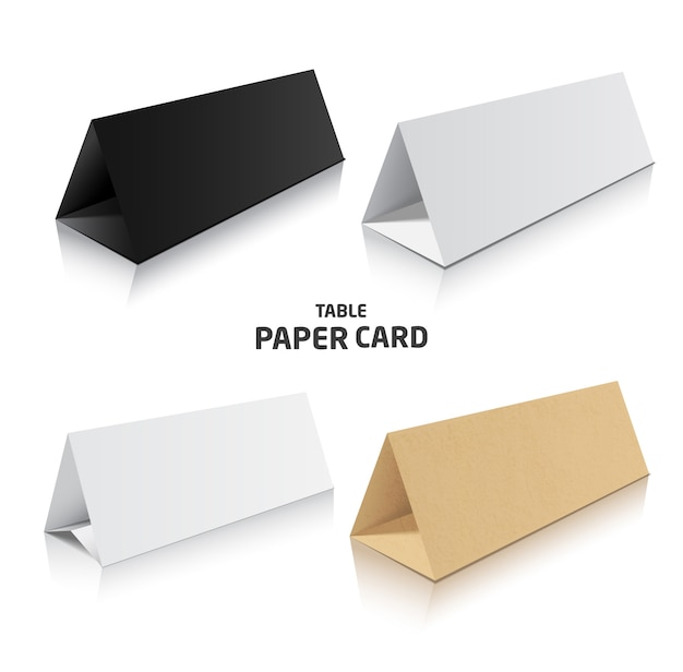 Blank trifold paper brochure. 3d illustration in different colors.