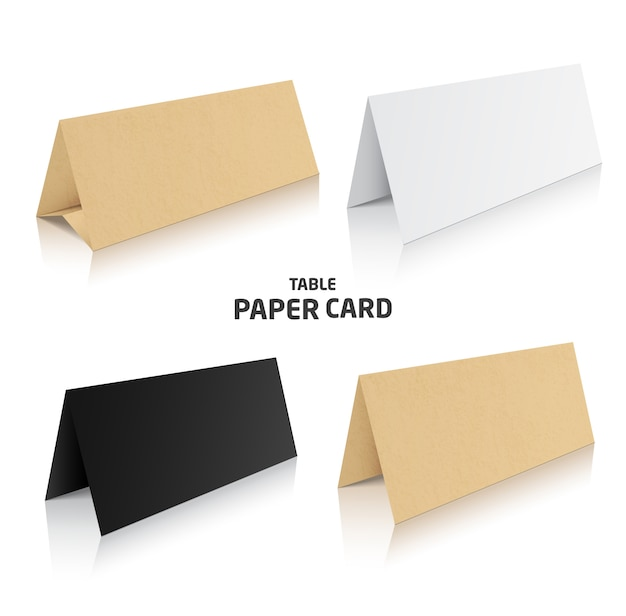 Blank trifold paper brochure . 3d illustration in different colors.
