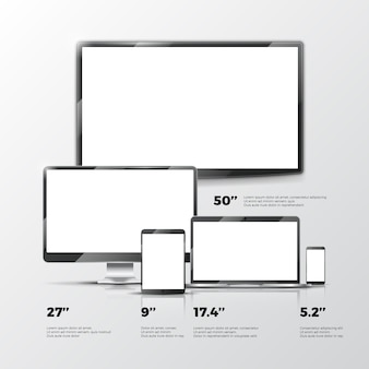 Blank tv screen, lcd monitor, notebook, tablet computer, smartphone mockups isolated on white backgr