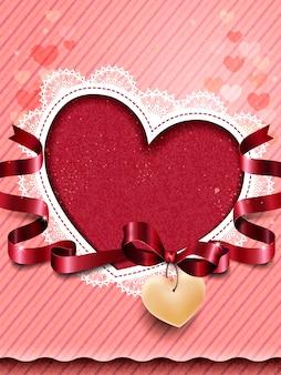 中央に赤いハートの空白のバレンタインカード