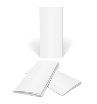 Brochure vettoriale in bianco su bianco isolato