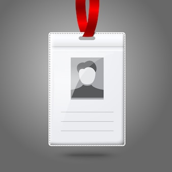 Blank vertical badge holder with place for photo and text.