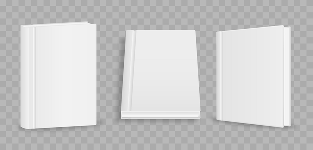 Blank vertical book cover template with pages in front