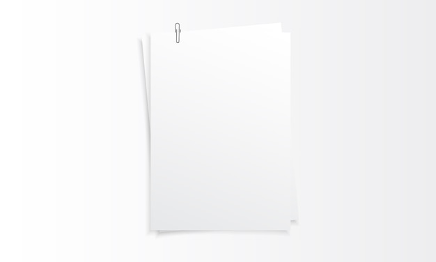 Blank vertical paper realistic mockup with paper clip