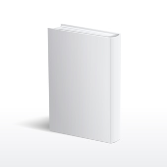Blank vertical white book cover vector template