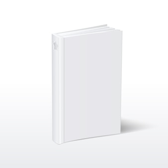 Blank vertical white softcover book standing on table perspective view