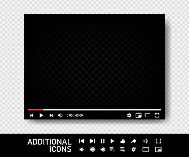 Blank video screen. video player interface. you are using a desktop desktop web player, a modern social media interface design template for web and mobile applications.