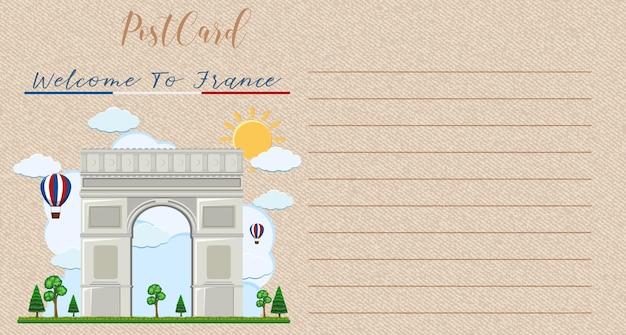 Blank vintage postcard with arc de triomphe landmark of france