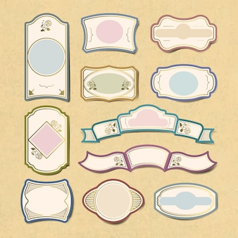 Blank vintage sticker labels vector set