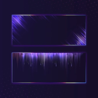 Blank violet purple rectangle neon signboard vector