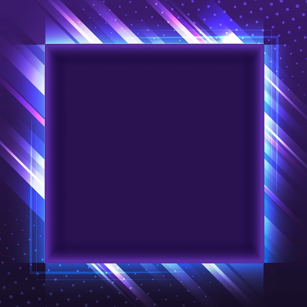 Blank violet square neon signboard vector