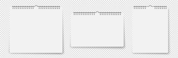 ソフトシャドウイラストと空白の壁掛けカレンダー