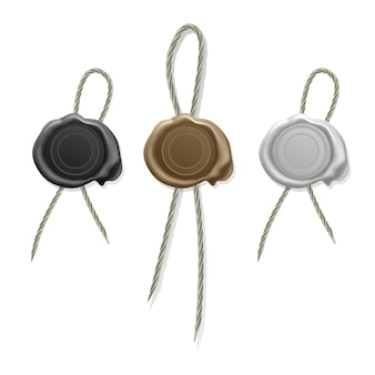 Blank wax seal with cord, stamp wax seal, icons set of white, gold and black sealing wax old realistic stamps labels  .